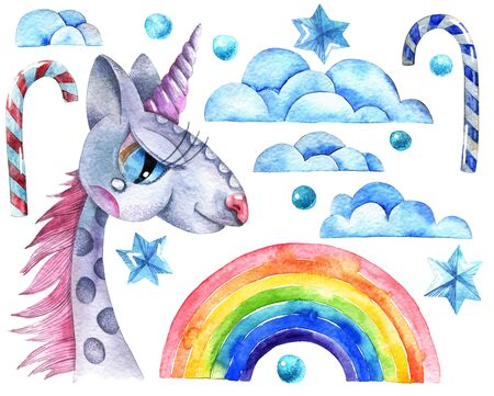 Watercolor illustration of unicorn, rainbow, clouds, stars, water drops and sweet candy on white background