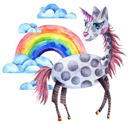 Watercolor illustration of unicorn with rainbow and clouds on white background