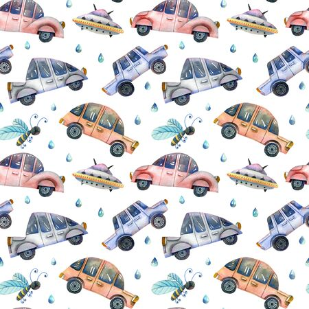 Moving cars seamless pattern