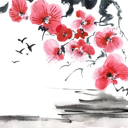 Watercolor of blossom sakura tree and flying birds in style on white