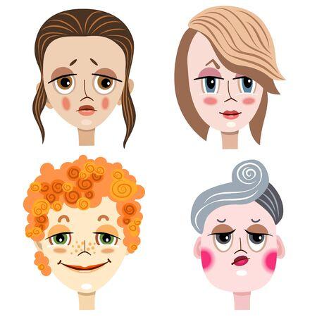 Porträts von Frauen mit unterschiedlichen Emotionen und Erscheinungsformen. Vektorgrafik