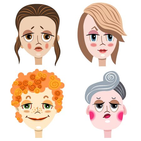 Portraits of women with different emotions and types of person's appearance. Vetores
