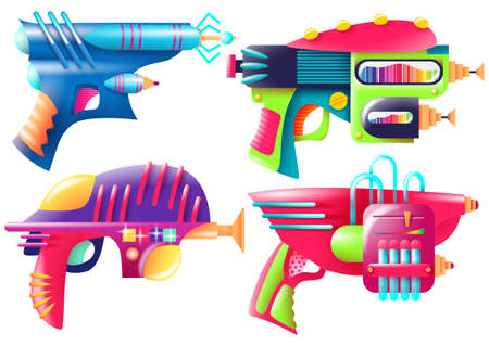 Vector illustration of bright color blasters. Set of objects on white background.