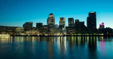 The Docklands development by night in london england
