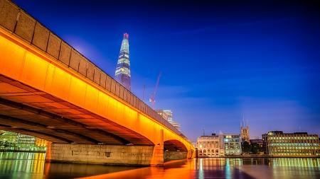HDR image of london bridge at night Stock fotó