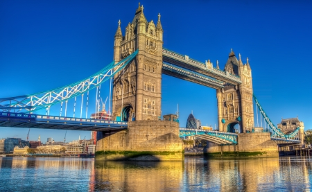 Tower Bridge at sunrise HDR image photo