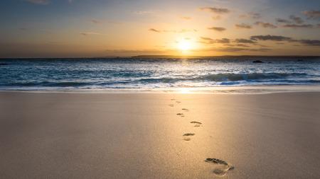huellas de pies: huellas en la arena