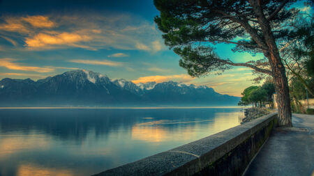 Early morning view of Lake Geneva HDR