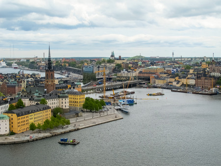 Stockholm Sweden . Wonderful aerial panorama from observation deck on a modern city and Gamla Stan (Old Town)