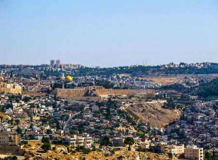 Jerusalem / Israel - June 28 2014: Panoramic view of the Old City of Jerusalem