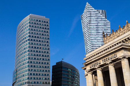Business skyscrapers in the center of Warsaw Poland