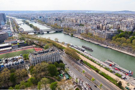 Aerial view of Paris city and Seine river from Eiffel Tower. France. April 2019 Reklamní fotografie