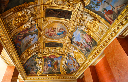 Paris  France - April 05 2019. Inside of richly decorated louvre museum. Beautiful ceiling