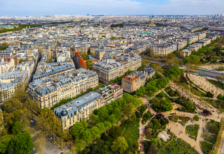 Aerial view of Paris city from Eiffel Tower. France. April 2019