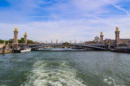 Historic bridge (Pont Alexandre III) over the River Seine in Paris France Reklamní fotografie