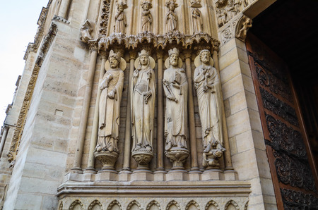 Marvelous sculptural and architectural details of Notre Dame Cathedral in Paris France. Before the fire. April 05, 2019