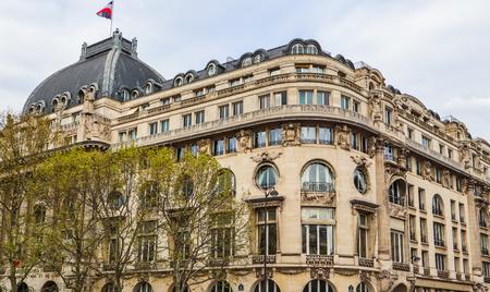 Beautiful facade of historic building of Paris France. April 2019 Redakční