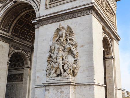 Architectural details of Arch of Triumph or Arc de Triomphe, Champs-Elysees in Paris France. April 2019 Redakční