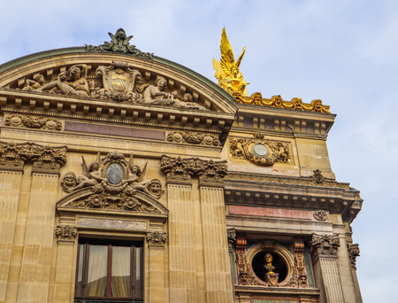 Architectural details of facade of Paris Opera (Palais Garnier). France. April 2019