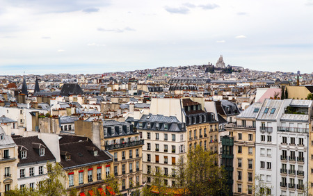 View of Paris city from Center of Pompidou in spring. France. April 2019 Reklamní fotografie