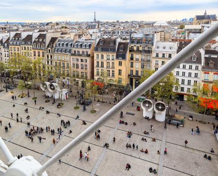 View of Paris city from Center of Pompidou in spring. France. April 2019 Redakční