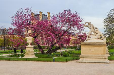 Hercules and Minotaur Statue in marvelous spring Tuileries garden. Paris France. April 2019