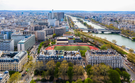 Aerial view of Paris city and Seine river from Eiffel Tower. France. April 2019 Redakční