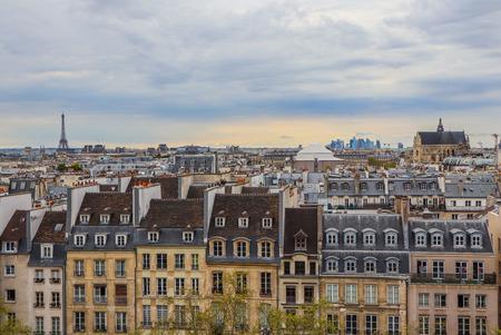Aerial view of Paris city. France. April 2019