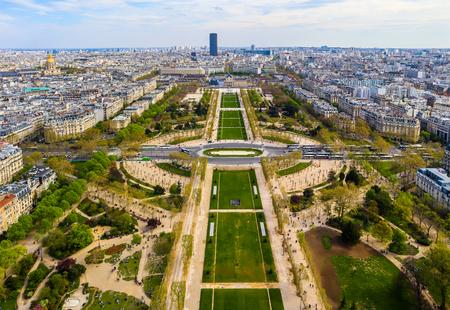 Aerial view of Champs de Mars and Paris city from Eiffel Tower. France. April 2019 Redakční