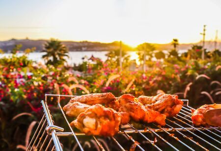 Cooking chicken skewers on the grill in the garden at sunset