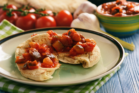 Pita bread with vegetable spread.