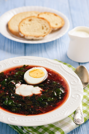 Homemade cold beetroot soup with egg. Stock Photo