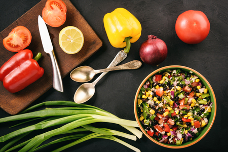 Mexican vegetable salad with black bean-cowboy caviar.