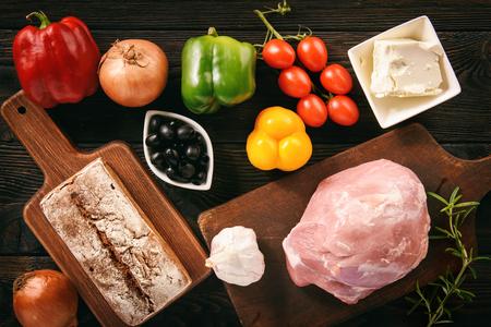 meatloaf: Ingredients for cooking of meatloaf, greek style kitchen.