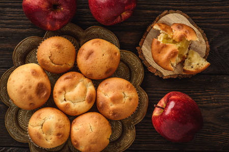 Homemade muffins with apple stuffing. Stock Photo