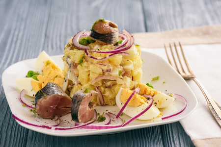 Herring salad with potato, eggs, cucumbers and onion.