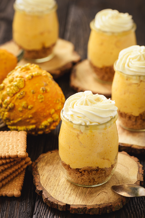 No bake pumpkin cheesecake with whipped cream.