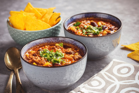 Chili con carne, traditional mexican food.