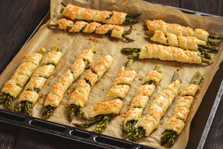 Asparagus baked in puff pastry with cheese.