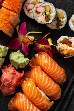 Mix sushi set, on black stone