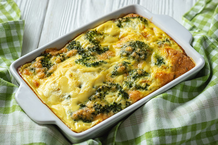 Broccoli casserole with eggs and cheese, vegetarian food. 写真素材