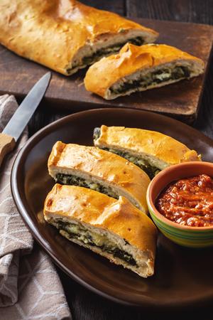 Spinach and cheese stromboli, italian cuisine.
