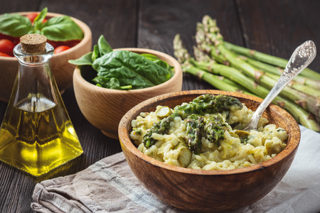 Asparagus and spinach risotto, italian cuisine.