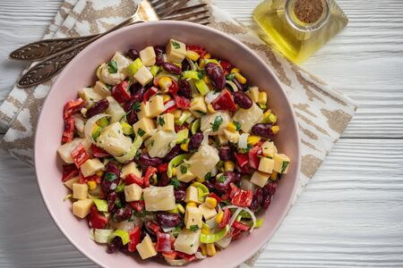 Bean, pineapple and corn salad, mexican style cuisine.