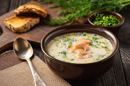 Homemade salmon and leek creamy soup. Banque d'images