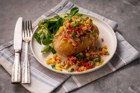 Jacket potatoes with tuna, corn and red sweet pepper.