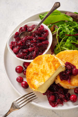 Fried camembert cheese and cranberry sauce. Stock Photo