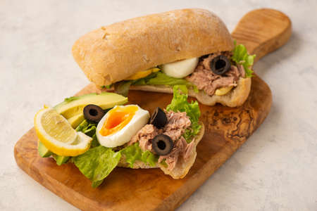 Tuna, eggs, olives  and avocado sandwiches on light background.