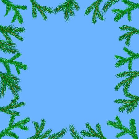 spruce: Border with spruce twigs. Vector. Illustration