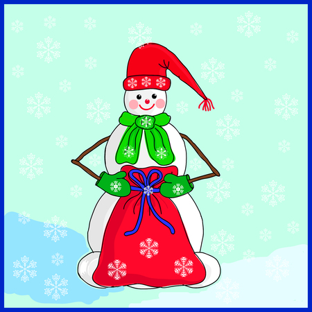 hat new year s eve: Christmas card with snowman. Vector. Illustration